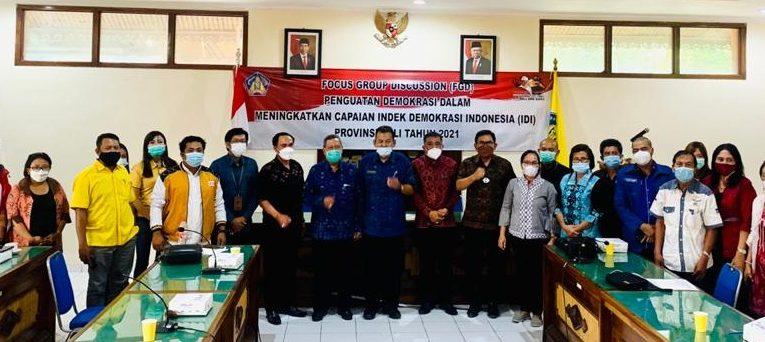 Focus Group Discussion (FGD) Penguatan Demokrasi Dalam Meningkatkan Capaian Indek Demokrasi Indonesia (IDI) Provinsi Bali Tahun 2021